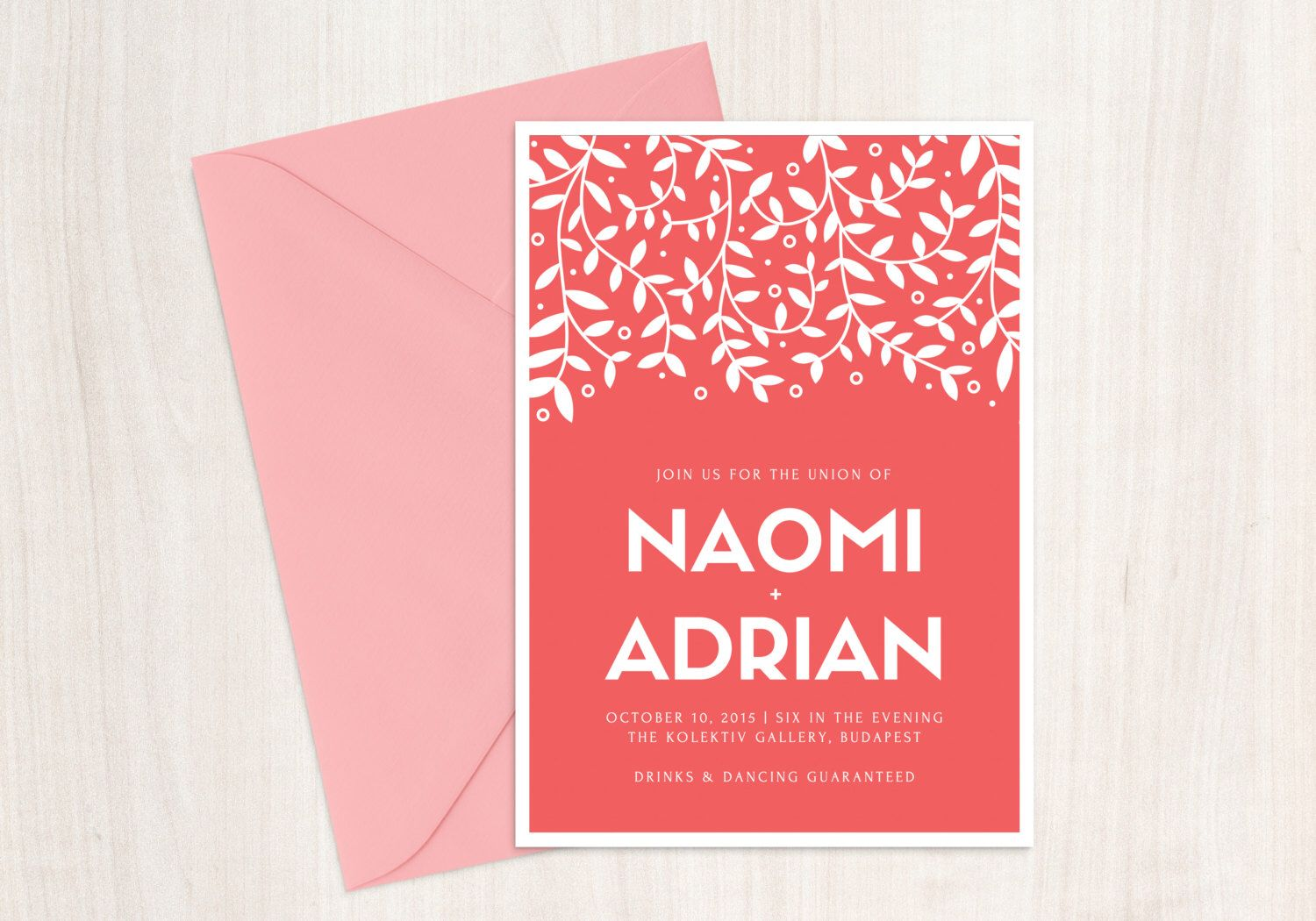 Coral Wedding Invitation Printable Vine Tree 5x7 , Custom Wedding ...