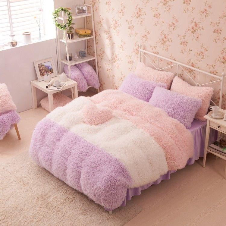 Purple White Pink Girls Cashmere Wool Velvet Ruffle Queen Size