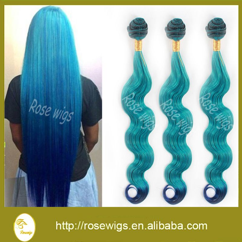 (Buy here: http://appdeal.ru/16jl ) Hot Sale Ombre Hair Extension 6A Body Wave Brazilian Virgin Hair 3pcs Light Blue And Dark Bule Body Wave Remy Human Hair Weave for just US $109.00