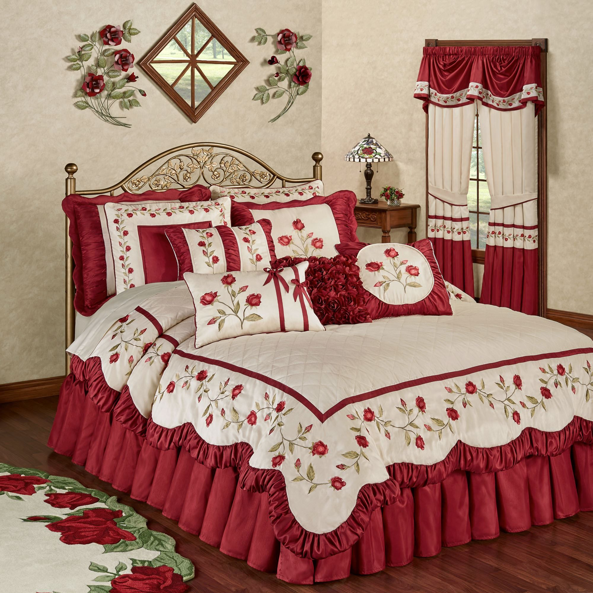 Briar Rose Dark Red Floral Romantic Comforter Bedding