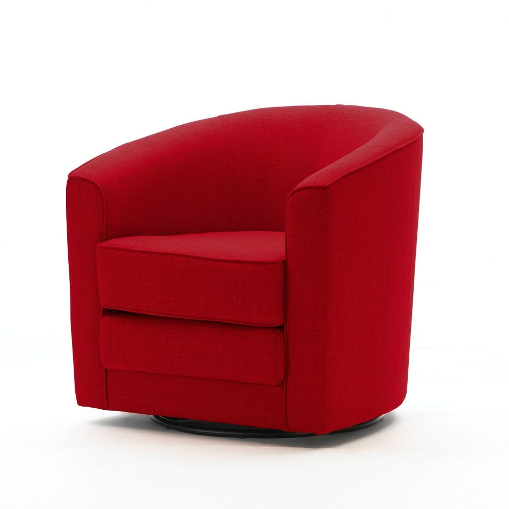 Barrel swivel chair red made by elements welcome to for Red swivel chairs for living room
