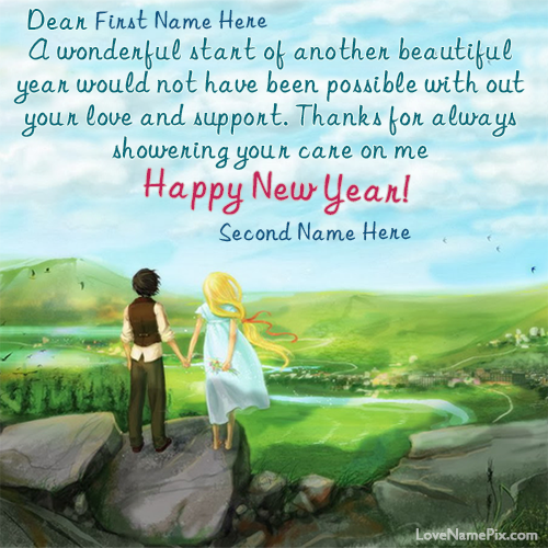Write Lovers Name On Cute New Year Wishes Card Images And