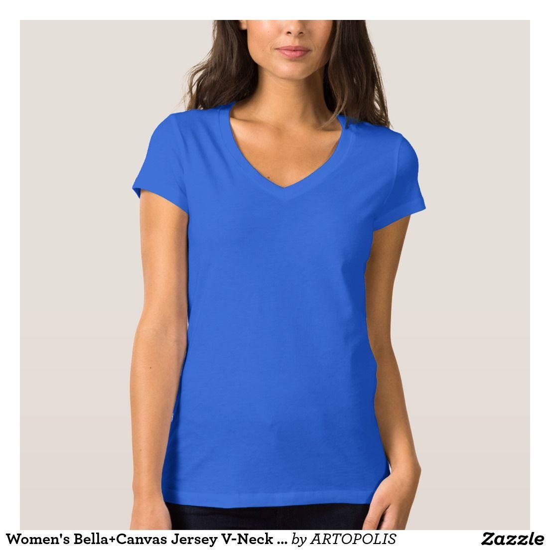 Women's Bella+Canvas Jersey V-Neck TRUE ROYAL T-Shirt