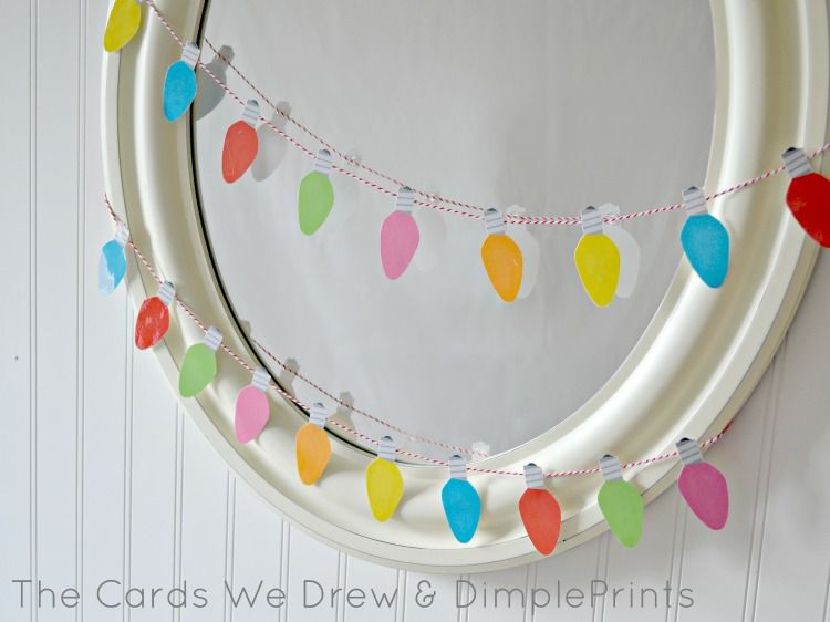 Christmas light garland mirror with free printable from