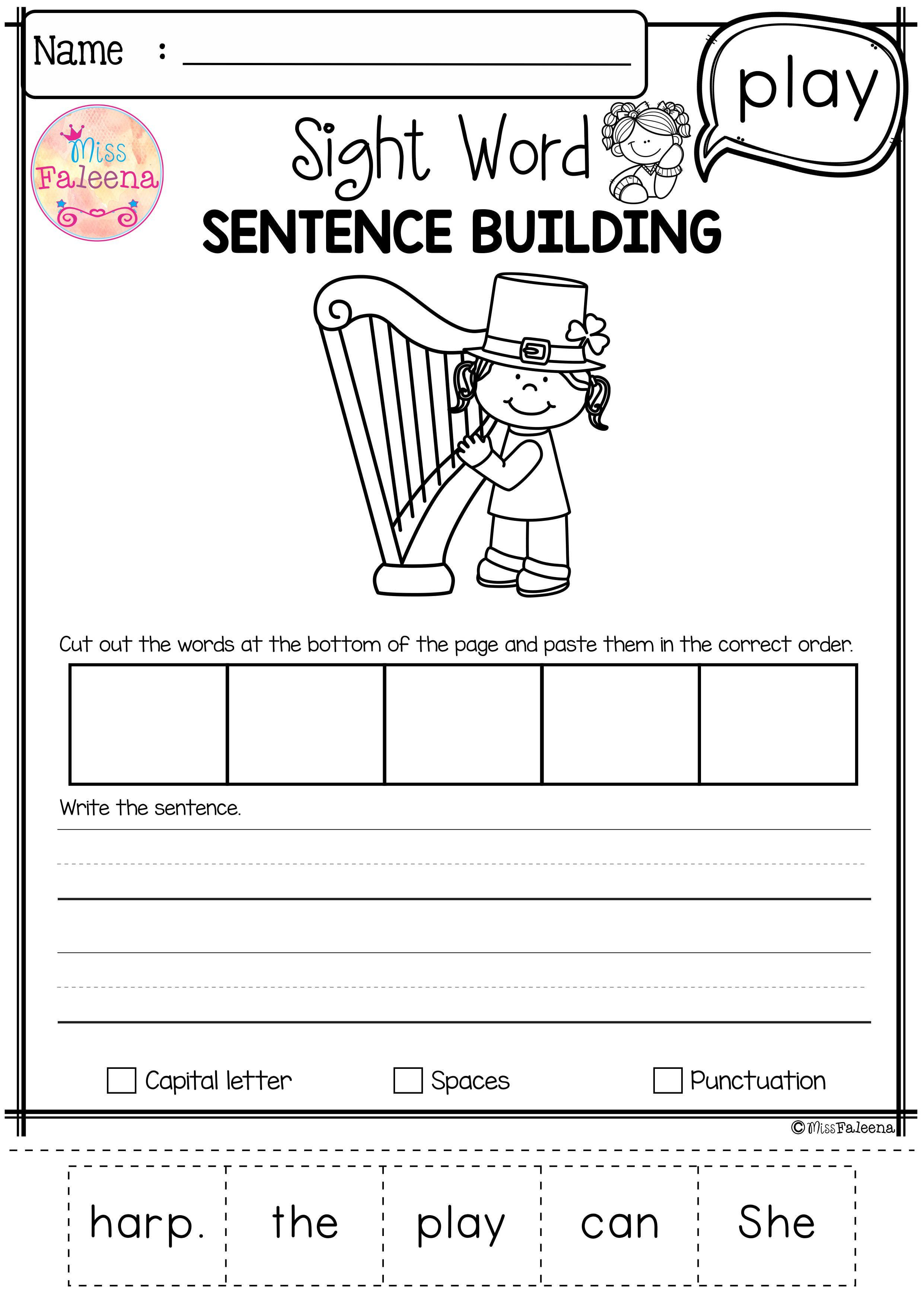 Sight Word Sentence Building Pre Primer