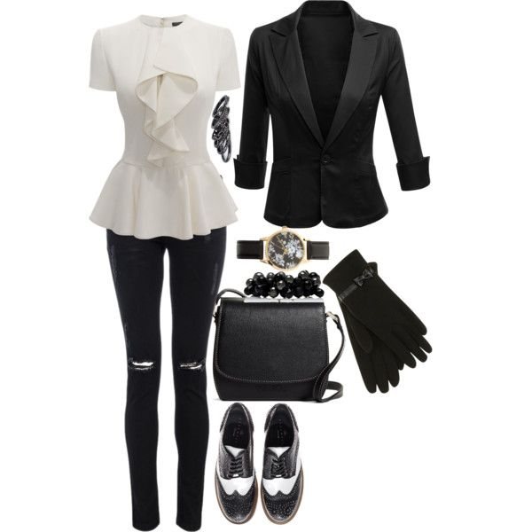 """A Classic Black & White Outfit"" by roses-s on Polyvore"