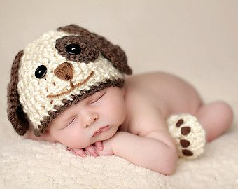 e04d0968a Baby Boy Hat PUPPY LUV Newborn Baby Boy Crochet Doggy Hat and Paws ...