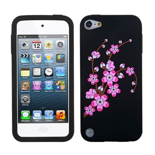 iPod Touch 5th Gen Soft Silicone Rubber Case Cover Pink Spring Blossom Flowers