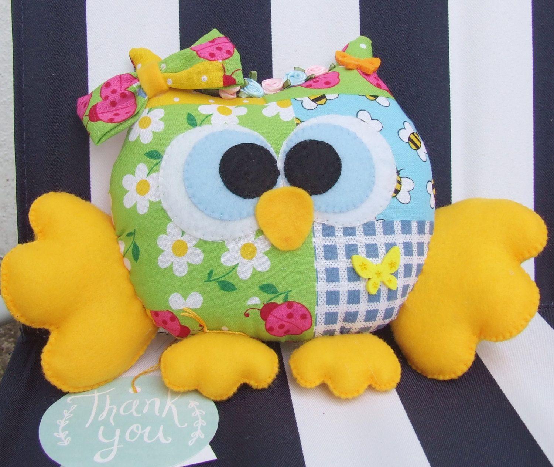 READY TO SHIP Handmade Felt Owl, Stuffed Owl, Room Decor, Ornament, Nursery Decor by PlushiesTemple on Etsy