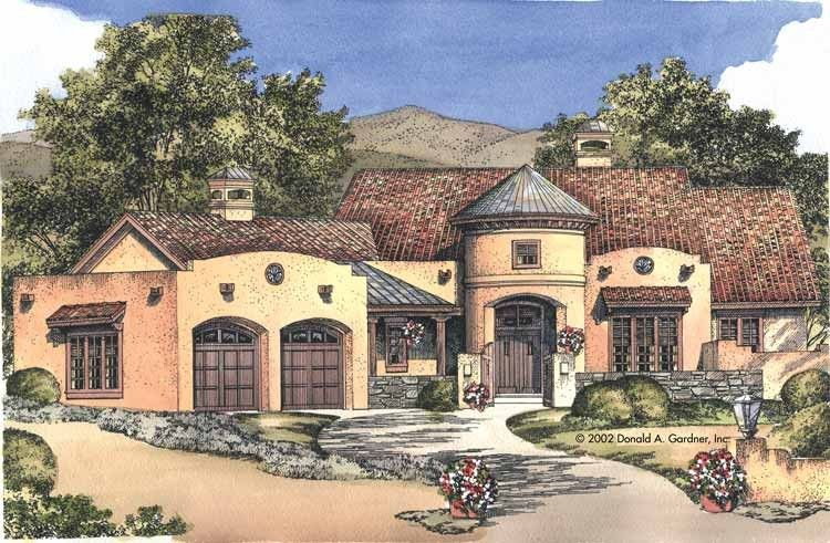 eplans adobe house plan a santa fe design 2843 square feet and 3 bedrooms from eplans house plan code - Adobe Style House Designs
