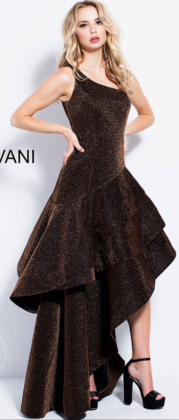 Jovani in chocolate brown double angular hilow pleated ruffled