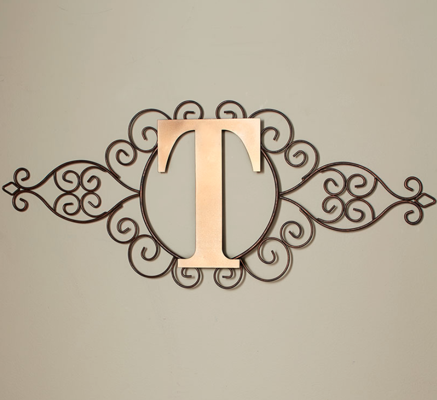 The Letter T Initial Indoor Outdoor Wall Hanging Metal Rustic Scrollwork Decor Ebay Monogram Wall Hangings Decorative Monogram Outdoor Walls
