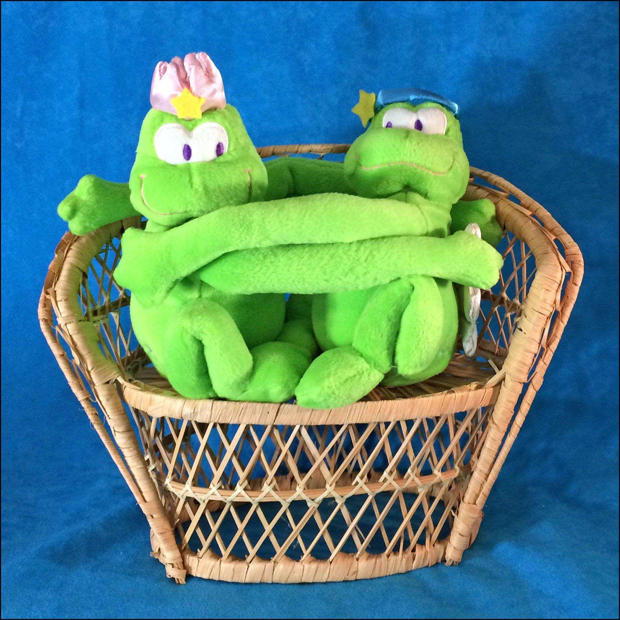 Vintage Plush Hugging Frogs in Wicker Chair Etsy in 2020