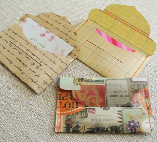 Template for Laminate and Sew Gift Card Envelopes from Cathe Holden on SC Johnson's Family Economics blog. Photo courtesy of Cathe Holden.