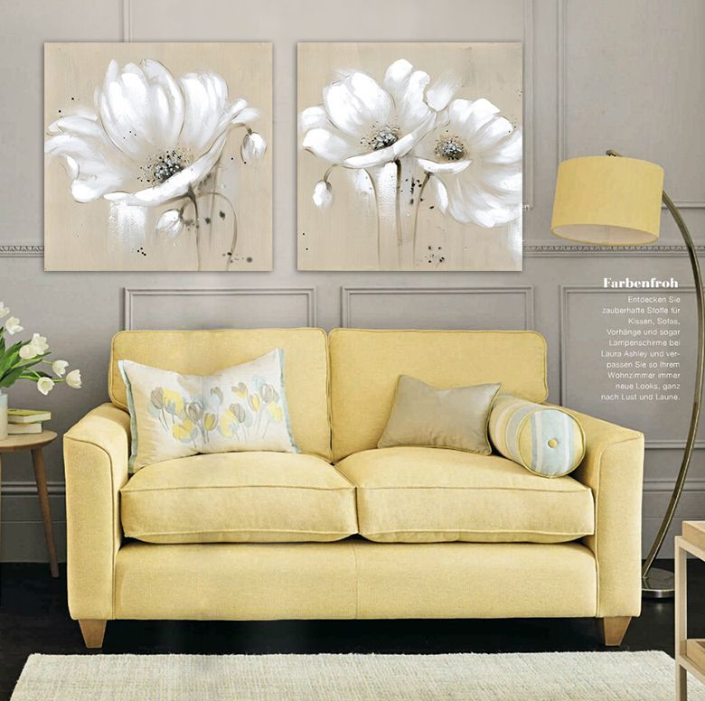 Beige canvas white flowers knife Oil Painting Gray 2 piece canvas ...