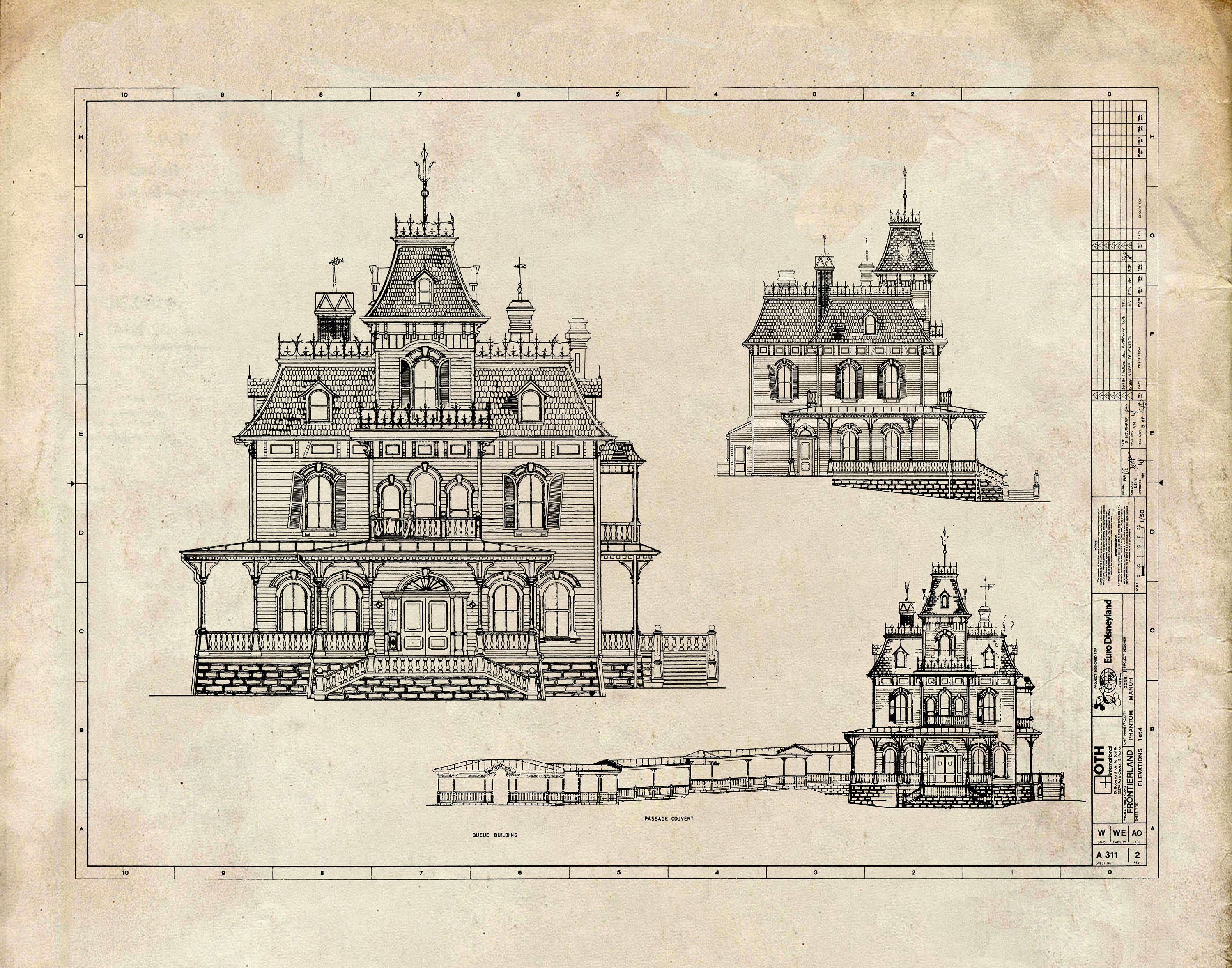 Disneyland Paris Phantom Manor Haunted Mansion Blueprint Disney Disneyland Vintage Black Ink Grunge Print Poster