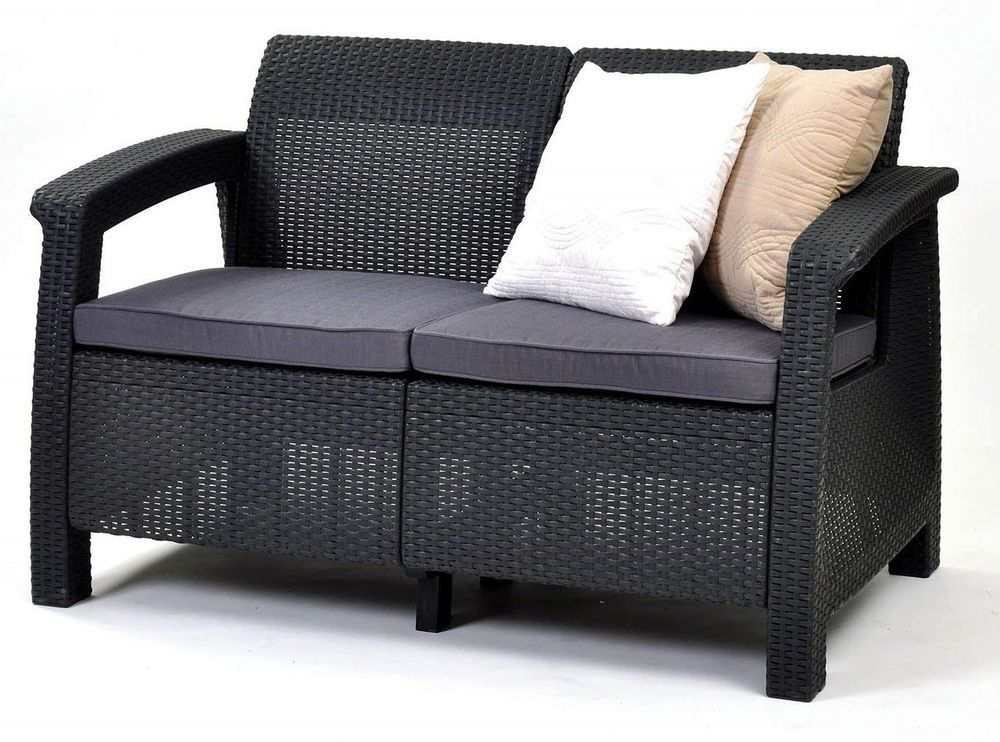 Outdoor Patio Furniture Loveseat With Cushions Garden Wicker Sofa