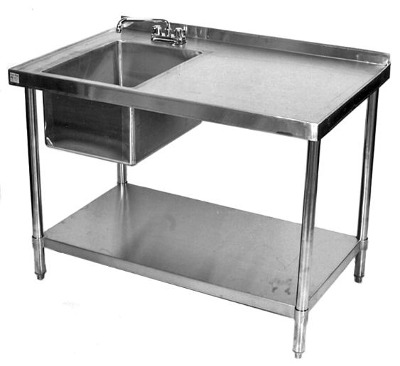 Stainless Steel Kitchen Table Vinyl For Cabinets Restaurant Work With Prep Sink