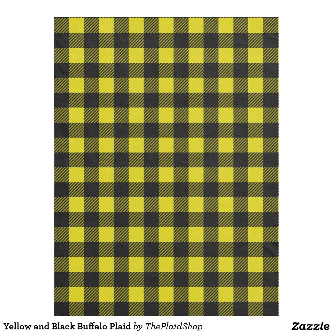 Yellow and Black Buffalo Plaid Fleece Blanket