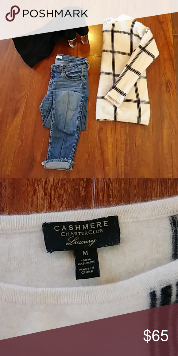 Lovely Cashmere sweater Black & cream cashmere sweater. Super soft in texture! Warm and cozy, perfect for fall and winter!! Very lightly used, only worn once!! *get it before the season is over* (ONLY selling the sweater) Charter Club Sweaters Crew & Scoop Necks