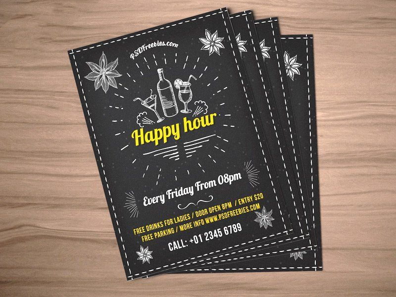 Happy Hour Party Invitation Flyer Template PSD