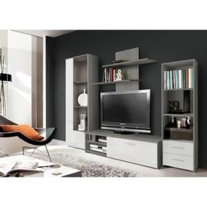 finlandek meuble tv mural pysy 230 cm dcor chne gris et blanc brillant - Meuble Tv Living