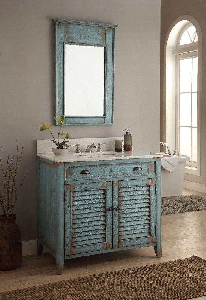 Captivating 36u201d ABBEVILLE COTTAGE BATHROOM SINK VANITY CABINET W/ MIRROR SET  #CF 28884 BU MR #BentonCollection #Cottage