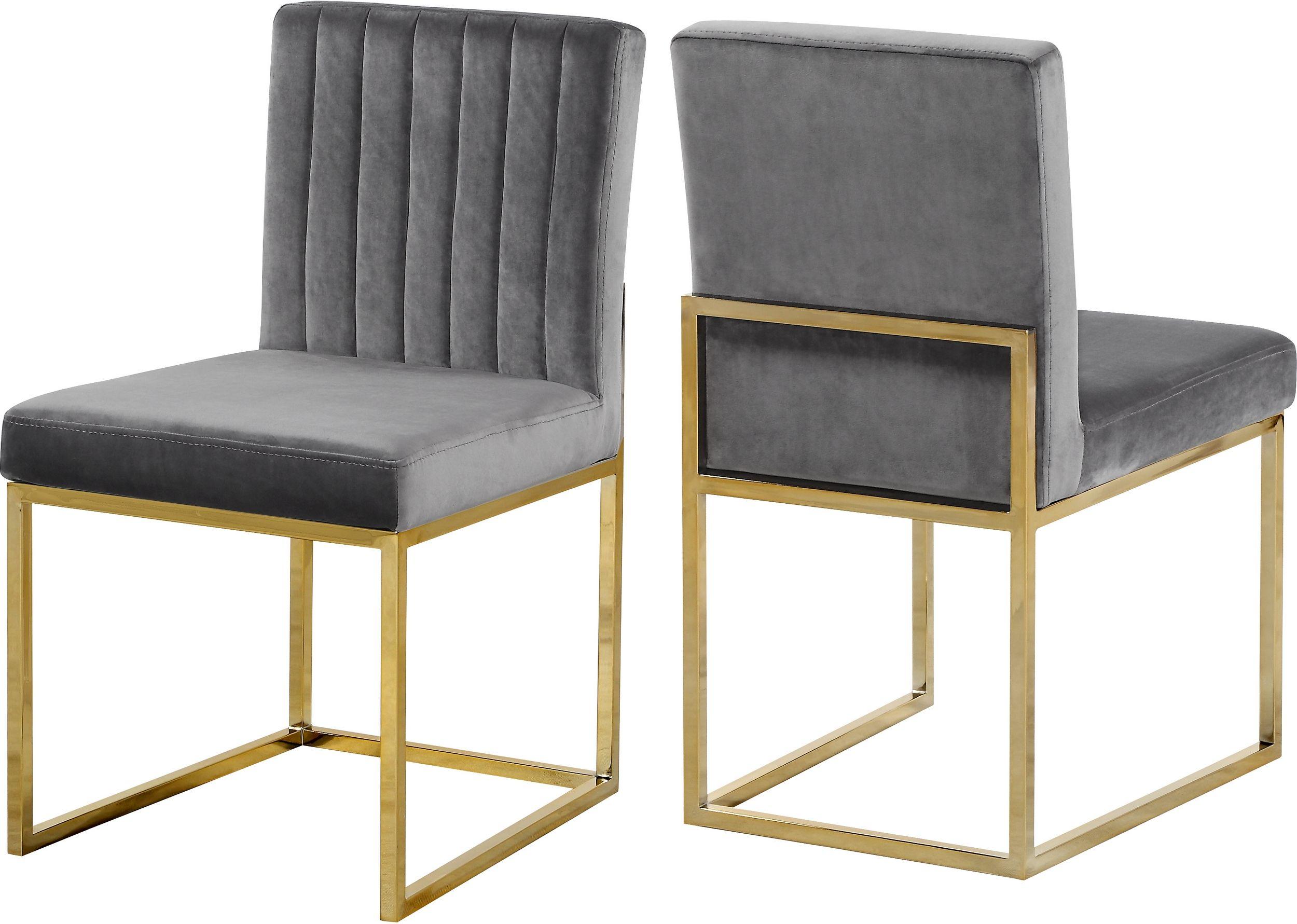 Meridian Giselle Grey Velvet Dining Chair With Gold Frame Set Of