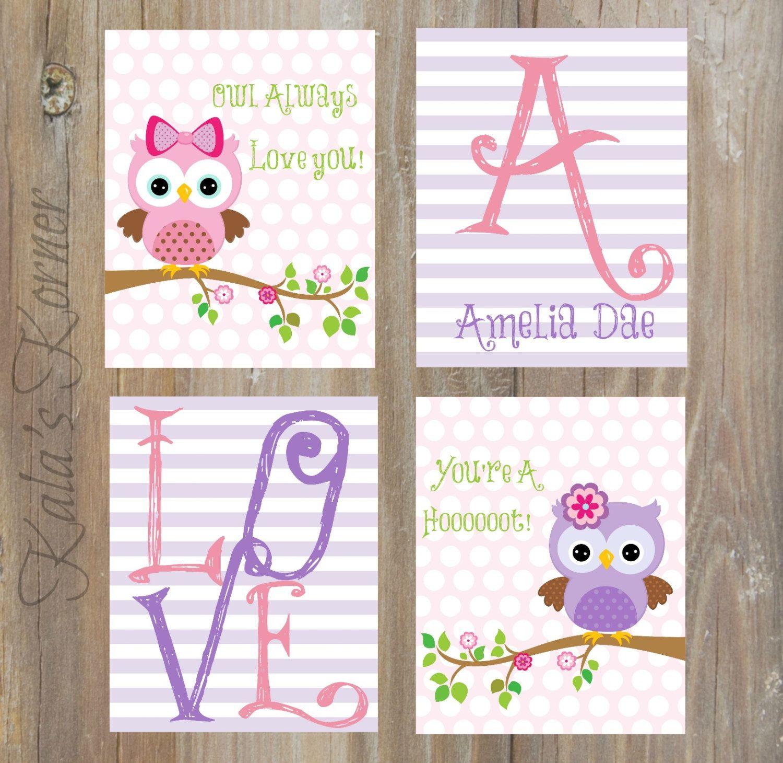 OWL NURSERY ART - Owl decor, owl art, owl print, custom baby name, girl nursery, playroom wall art, playroom art, owl always love you by KalasKorner on Etsy