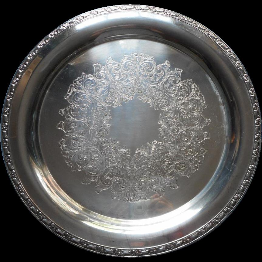 Big Round Silver Serving Or Tea Set Tray Vintage Park Lane Oneida