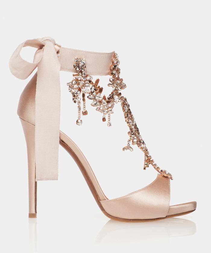 Here She Comes Bridal Rose Satin Open Toe Sandal