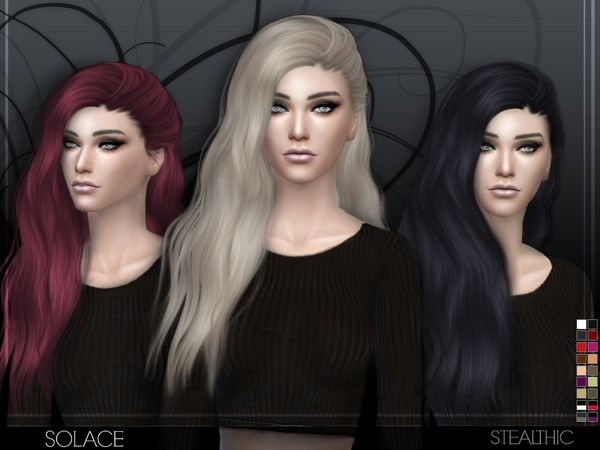 Solace female hair by Stealthic at TSR via Sims 4 Updates