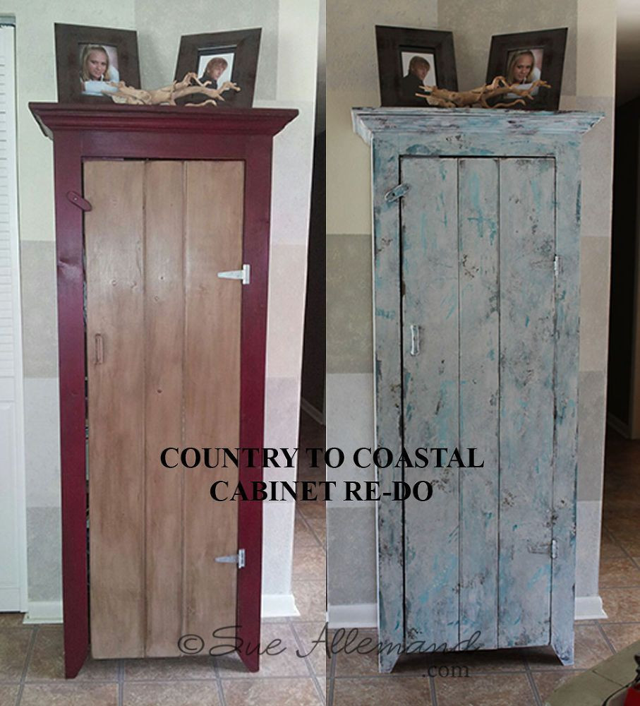 country to coastal cupboard re do tutorial, kitchen cabinets, painted furniture