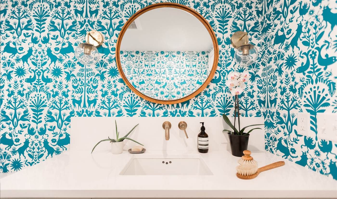 See How Bold Wallpaper Completely Transformed This Small Bathroom Bold Wallpaper Mirror Apartment Upgrade