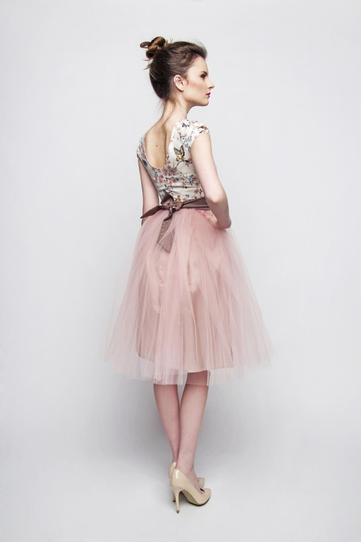 Standesamt Kleid rosa braun kurz mit Tüllrock individuelle ...