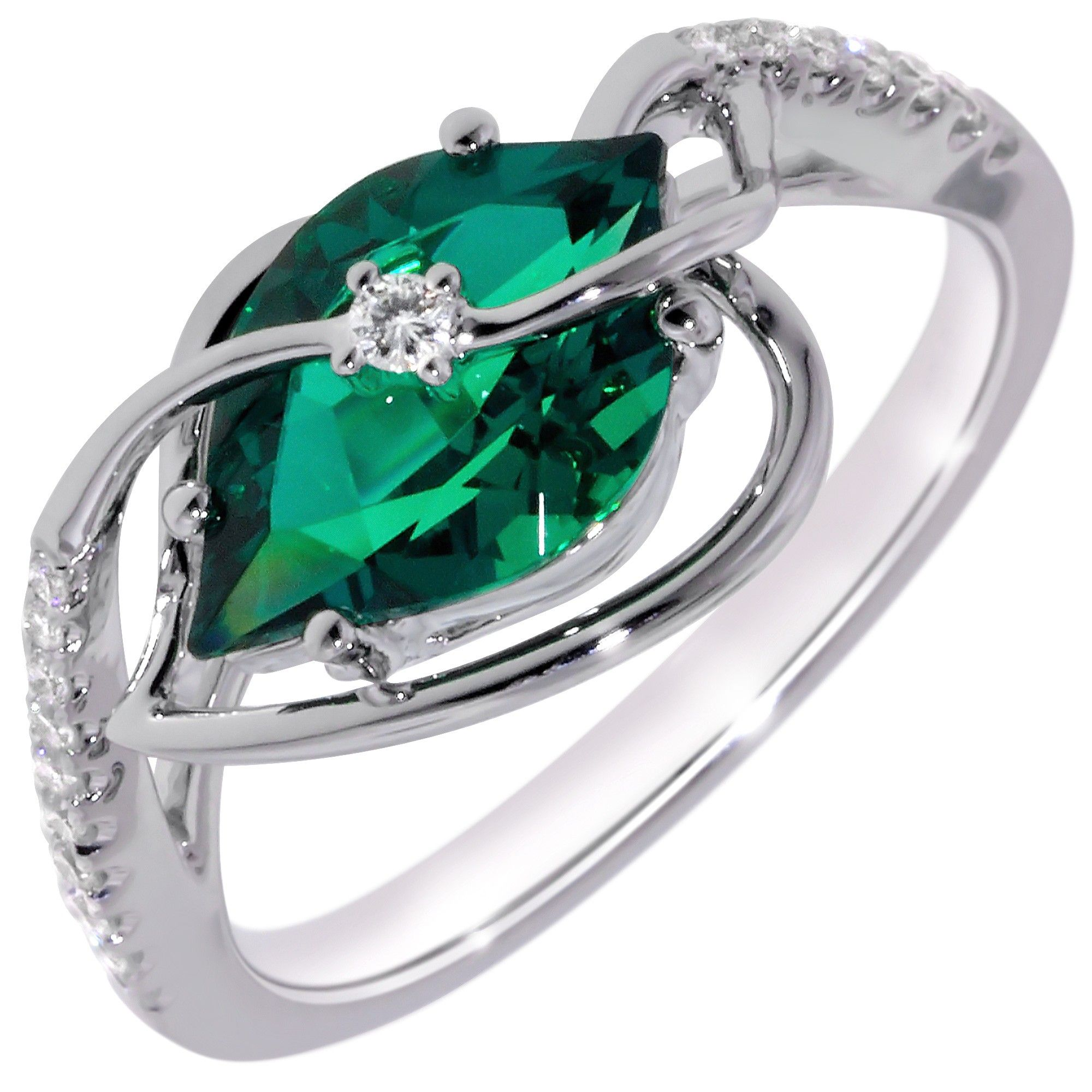 chatham cultured created emerald ring in 14kt white gold