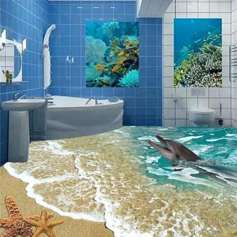 Us $8454 Таможенные 3D Напольная Плитка Морской Туалет 80X80 См Fascinating 3D Tiles For Bathroom Review