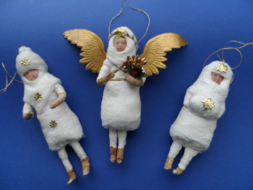 set of three vintage style spun cotton christmas ornaments ebay