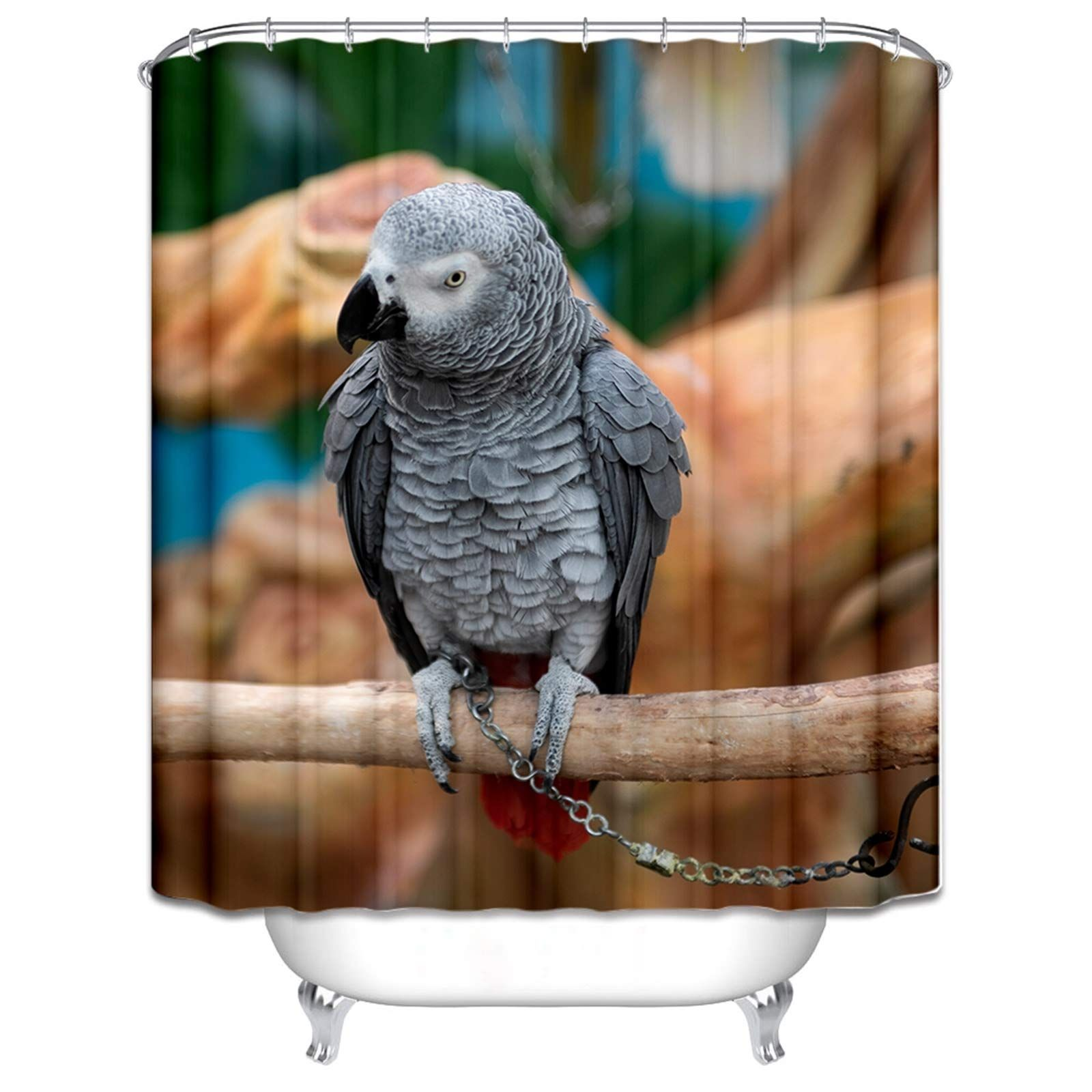 Daesar Polyester Fabric Shower Curtain Bird Parrot Grey Shower