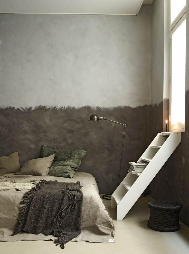 Une chambre avec un mur peint mi-gris mi-taupe | Chambre | Khaki ...