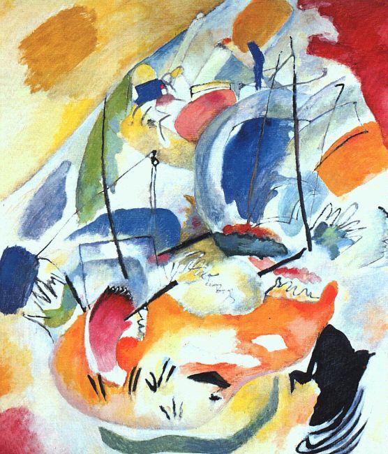 2) Figuration et abstraction ==> ABSTRACTION 1ERE GENERATION <==  Kandinsky, Improvisation 31 1913 Processus mise en avant.