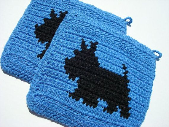 Blue Scotty Dog Potholders from Hoooked by Hoooked on Etsy