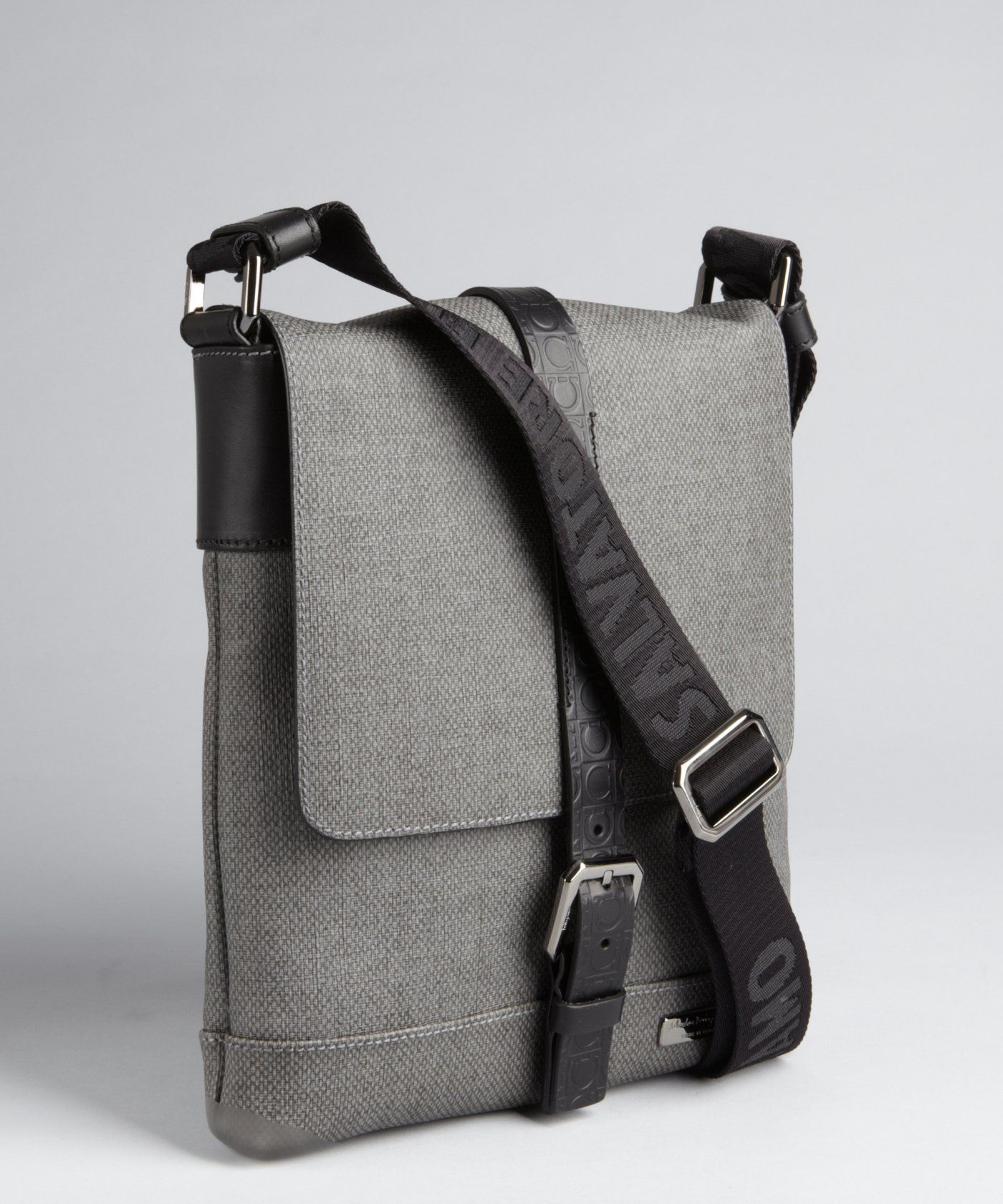 Salvatore Ferragamo grey coated canvas map case small messenger bag ... f37cf23fc0dff