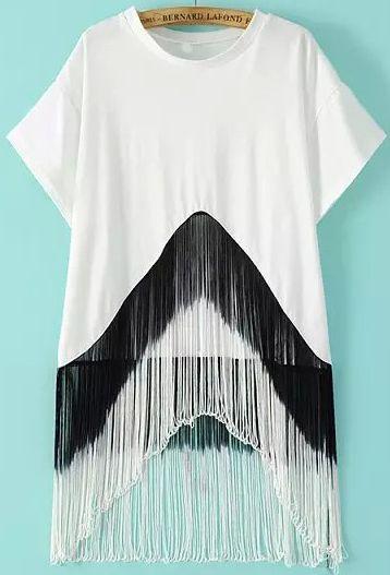 a707f4a46 Blusa manga corta flecos suelta -blanca 13.18
