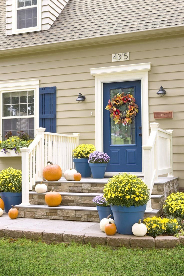 Shutter colors for tan house home design exterior - Front door colors for blue house ...