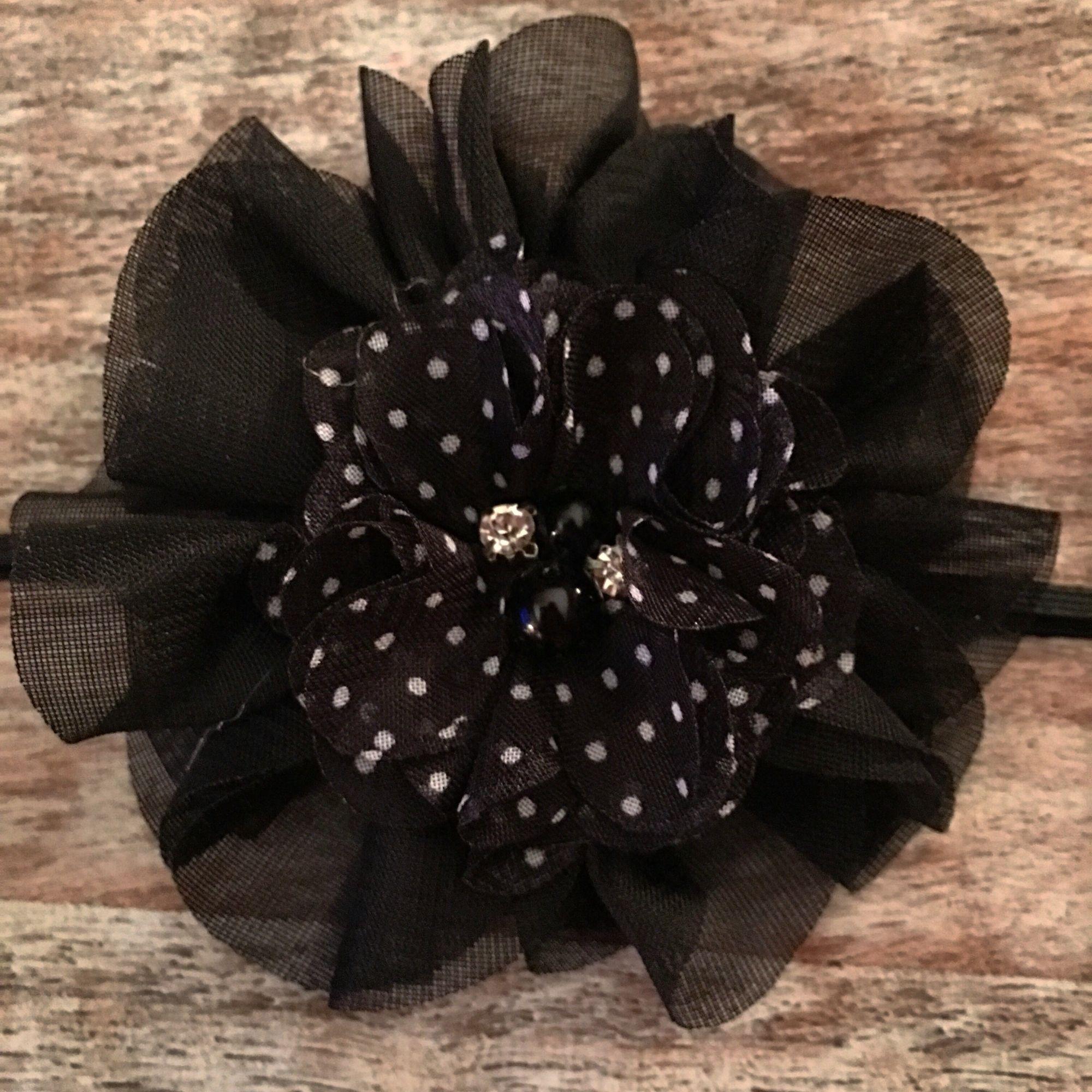 $8  Black & White Polka Dot Headband or Clip with  Double Flower, Rhinestone & Pearl Center