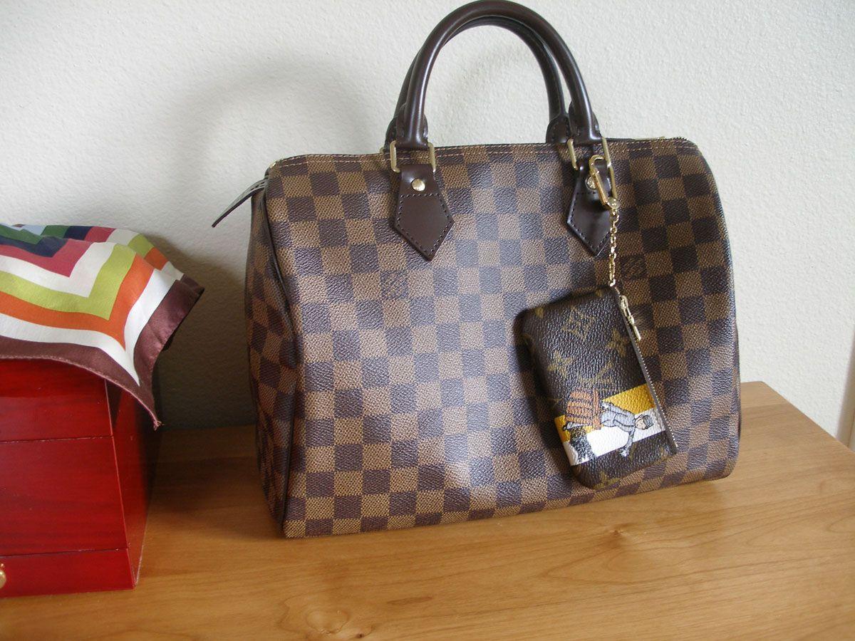 Louis Vuitton damier ebene Speedy 30. Louis Vuitton monogram groom key cles