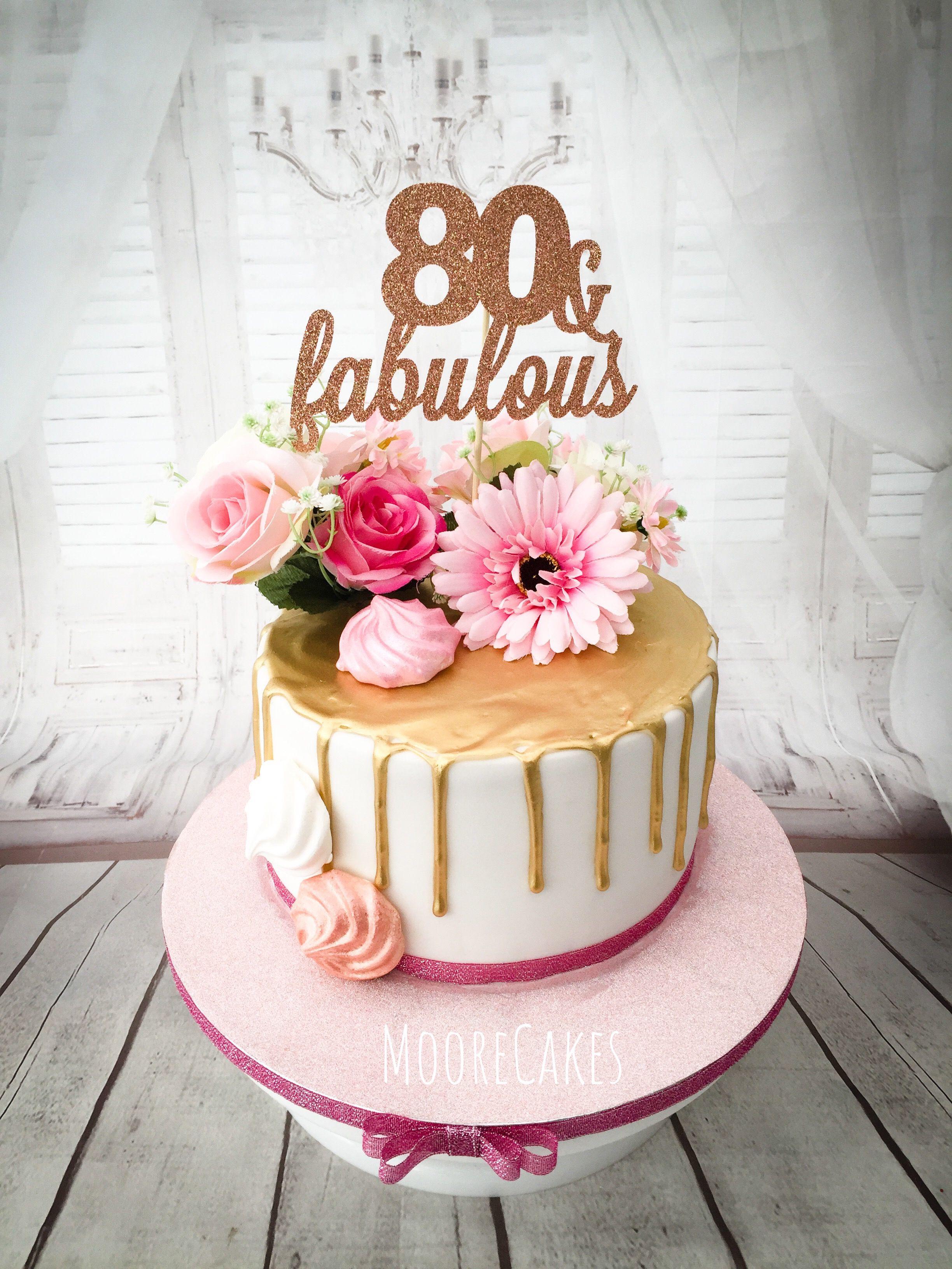 80th gold drip birthday cake
