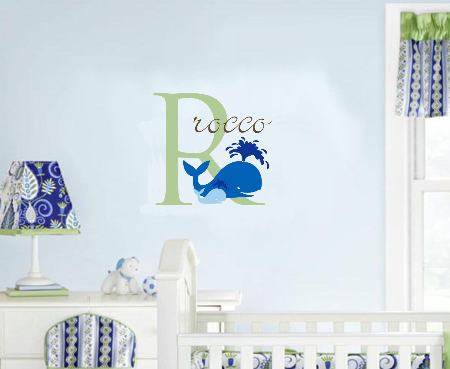 Wall decal baby boy nursery name whale ocean nautical beach baby name nautical wall decal whale ocean nursery decor 2400 via etsy amipublicfo Choice Image
