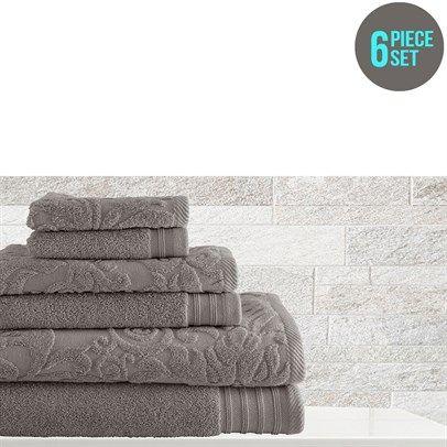 oo.com.au - 6 Piece Towel Set Jacquard Solid Leaf Swirl - Platinum